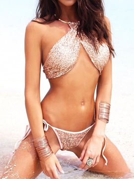 Ericdress Choker Bling Sequins Bikini Set
