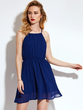 Ericdress PlainHalter Sleeveless A-Line Dress