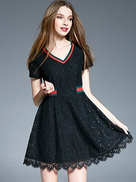 Ericdress Hollow V-Neck Short Sleeve Lace Dress