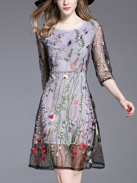 Ericdress Elegant Floral Embroidery Mesh A Line Dress