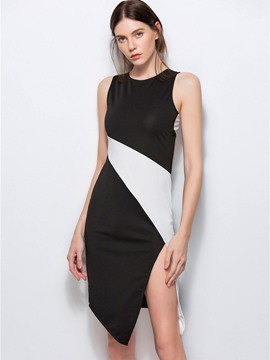 Ericdress Color Block Asymmetric Split Sheath Dress