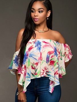 Ericdress Off-Shoulder Floral Print Ruffle Blouse