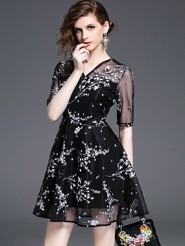 Ericdress V-Neck See-Through Floral Ball Gown A Line Dress