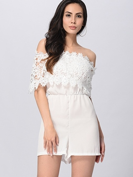 Ericdress Slash Neck White Lace Women's Jumpsuits