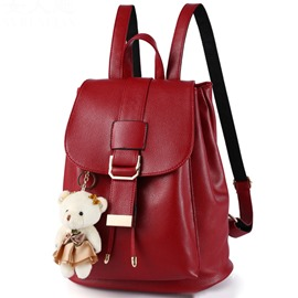 Ericdress Vintage Solid Color Bucket Backpack