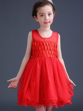 Ericdress Maple Leaf Patchwork Mesh Party Girl Princess Dress