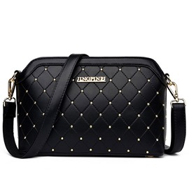 Ericdress Casual Plaid Rivets Decorated Crossbody Bag