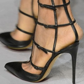 Ericdress Stylish Black Caged Stiletto Pumps