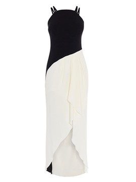 Ericdress Asymmetric Ankle-Length Sleeveless Color Block Asymmetrical Dress