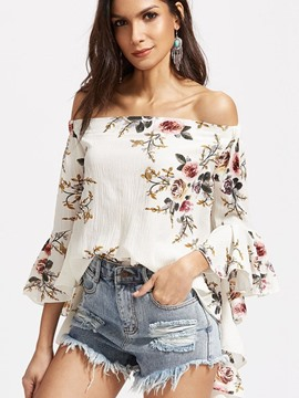 Ericdress Off-Shoulder Bell Sleeve Blouse