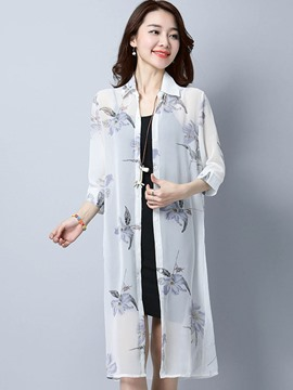 Ericdress Thin Floral Single-Breasted Mid-Length Cape
