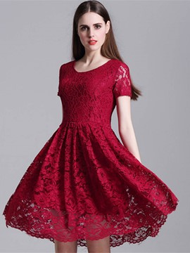 Ericdress Vogue Plain Hollow Short Sleeve Expansion Lace Dress