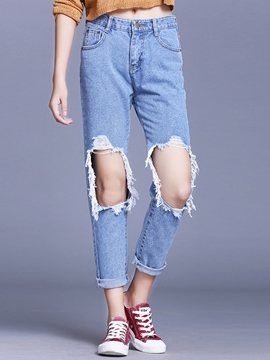 Ericdress Worn Button Pocket Washable Jeans