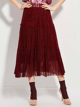 Ericdress Mid-Waist Ankle-Length Mottled Pleated Skirt