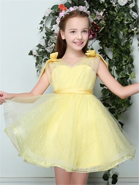 Ericdress Short Tulle A-Line Backless Flower Girl Dress