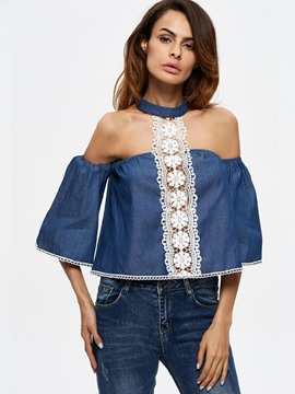 Ericdress Floral Crochet Denim Blouse