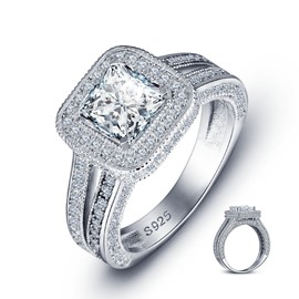 MarkChic S925 Silver Cushion Cut Diamante Wedding Ring