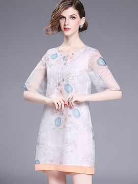 Ericdress European Print Half Sleeves Casual Dress