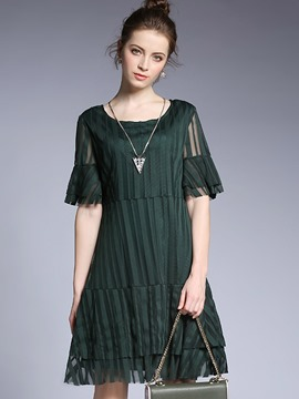 Ericdress Pleated-Detail Ruffle Sleeve Loose-Fitting Casual Dress
