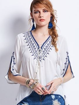 Ericdress V-Neck Embroidery Half Sleeve Women's Blouse
