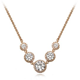 Ericdress Elegant Diamante Rose Gold Charm Necklace