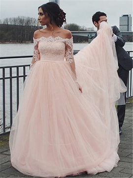 Ericdress Tulle Long Sleeves Off The Shoulder Wedding Dress