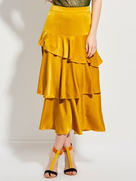 Mid-Calf Falbala Patchwork Asymmetrical Skirt