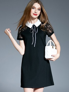 Ericdrss Polo Neck Hollow Bowknot A Line Dress