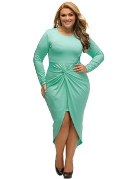 Ericdress Knotted Front Slit Cocktail Plus-Size Bodycon Dress