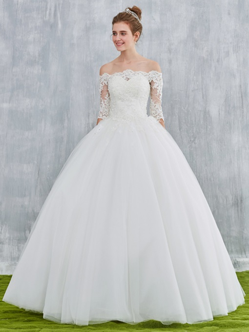 Ericdress Off the Shoulder Ball Gown Wedding Dress with Half Sleeves