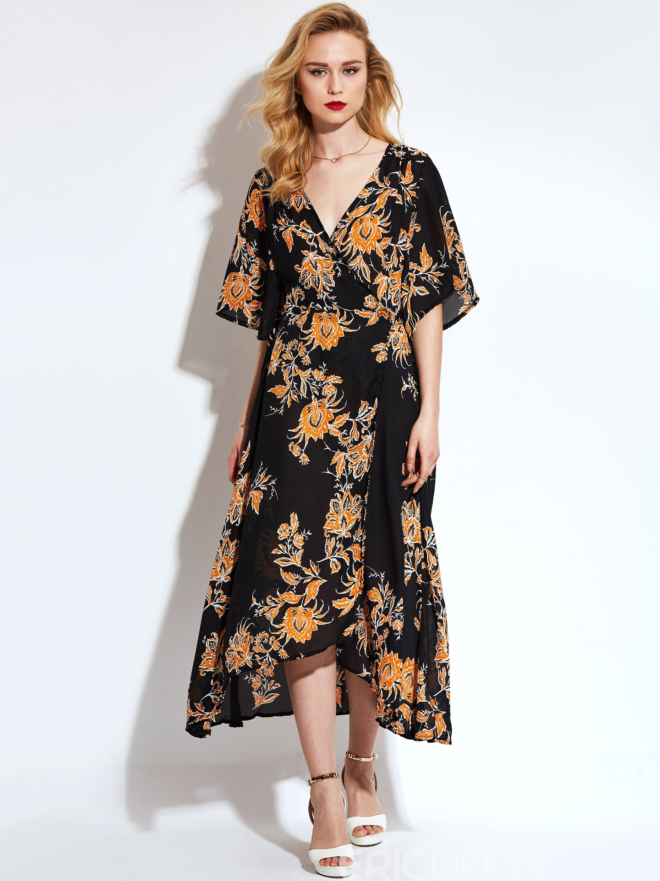 Ericdress Floral Half Sleeve V-Neck Maxi Dress