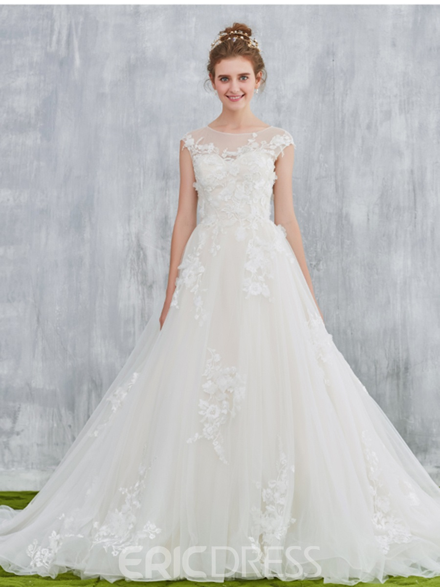 Ericdress Sheer Neck Cap Sleeve Appliques Wedding Dress