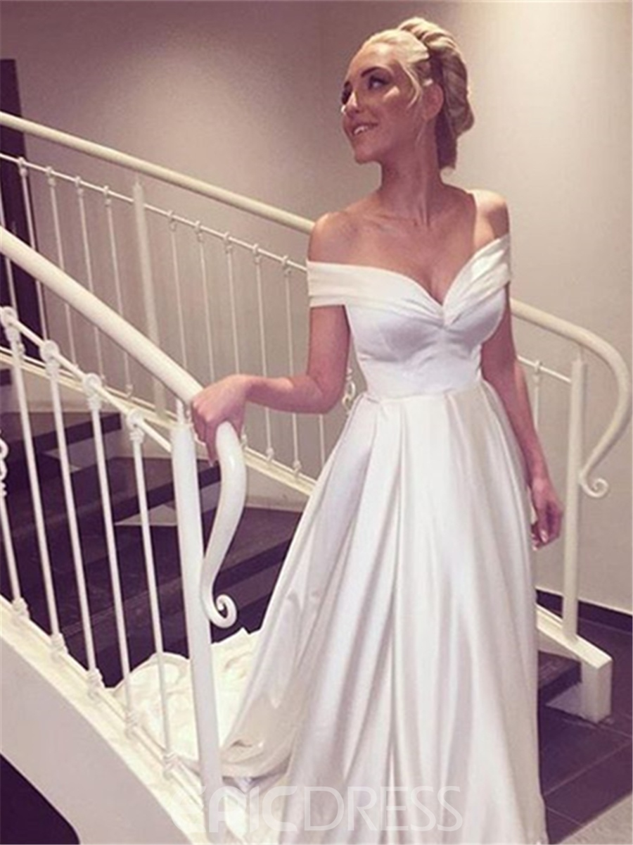 Ericdress Simple A-Line Off The Shoulder Wedding Dress