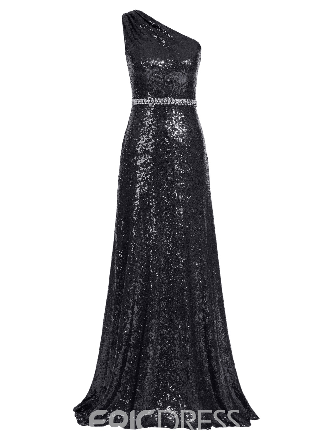 Ericdress One Shoulder Sequins A Line Long Evening Dress