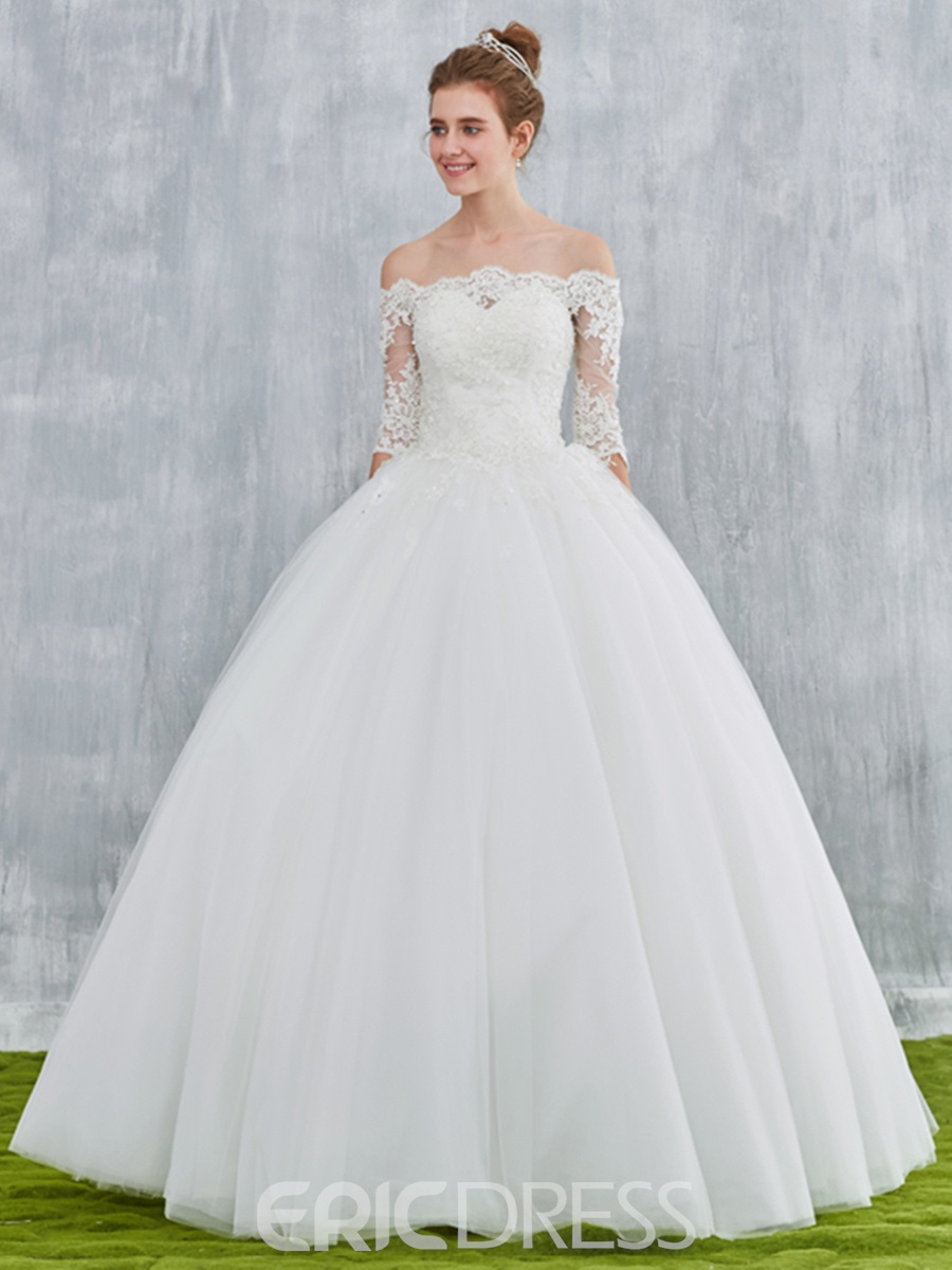 Ericdress off shoulder ball gown wedding dress with half for Wedding dresses with half sleeves
