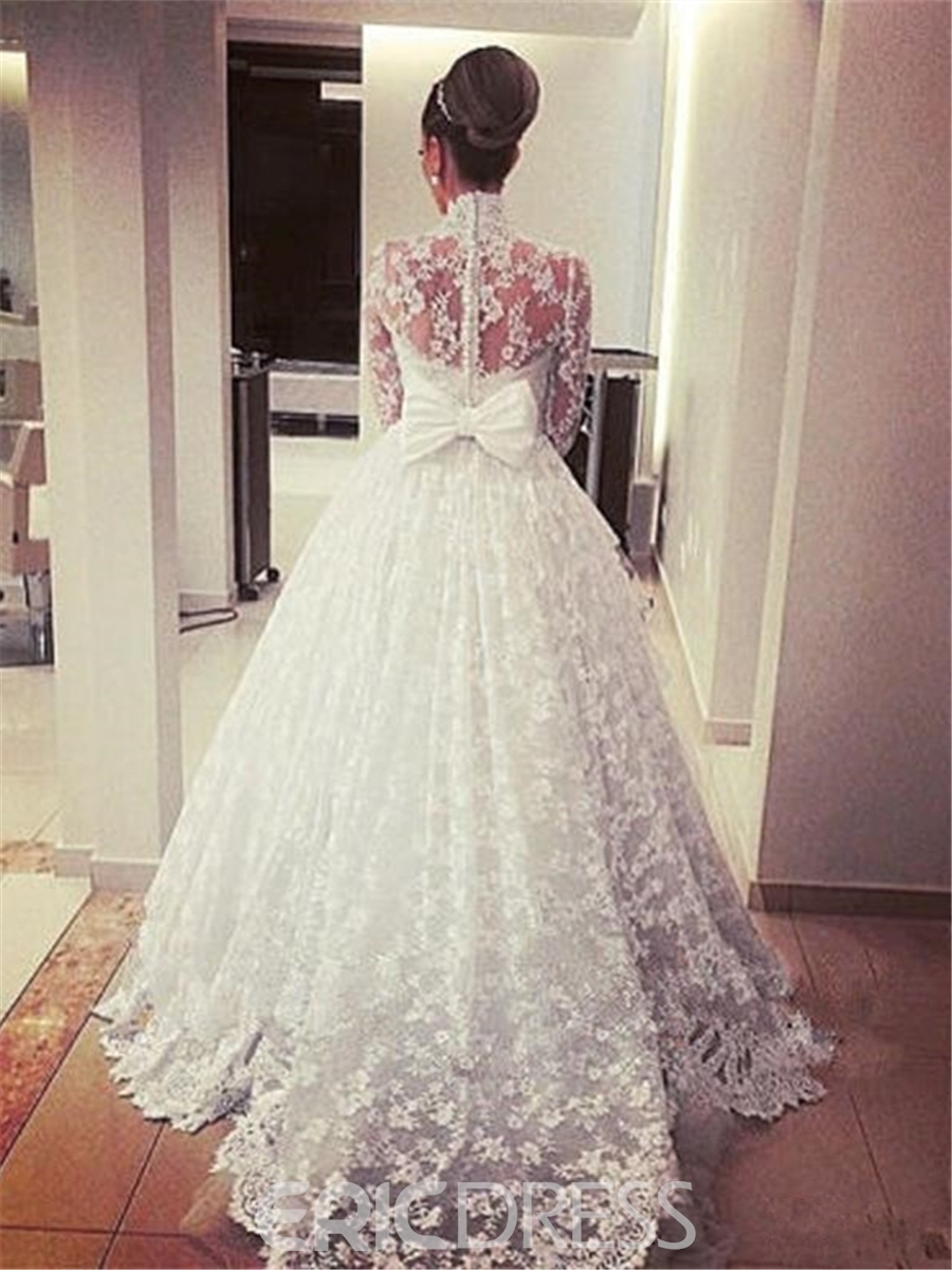 Ericdress High Neck Mesh Lace Long Sleeves Wedding Dress 12810721 ...
