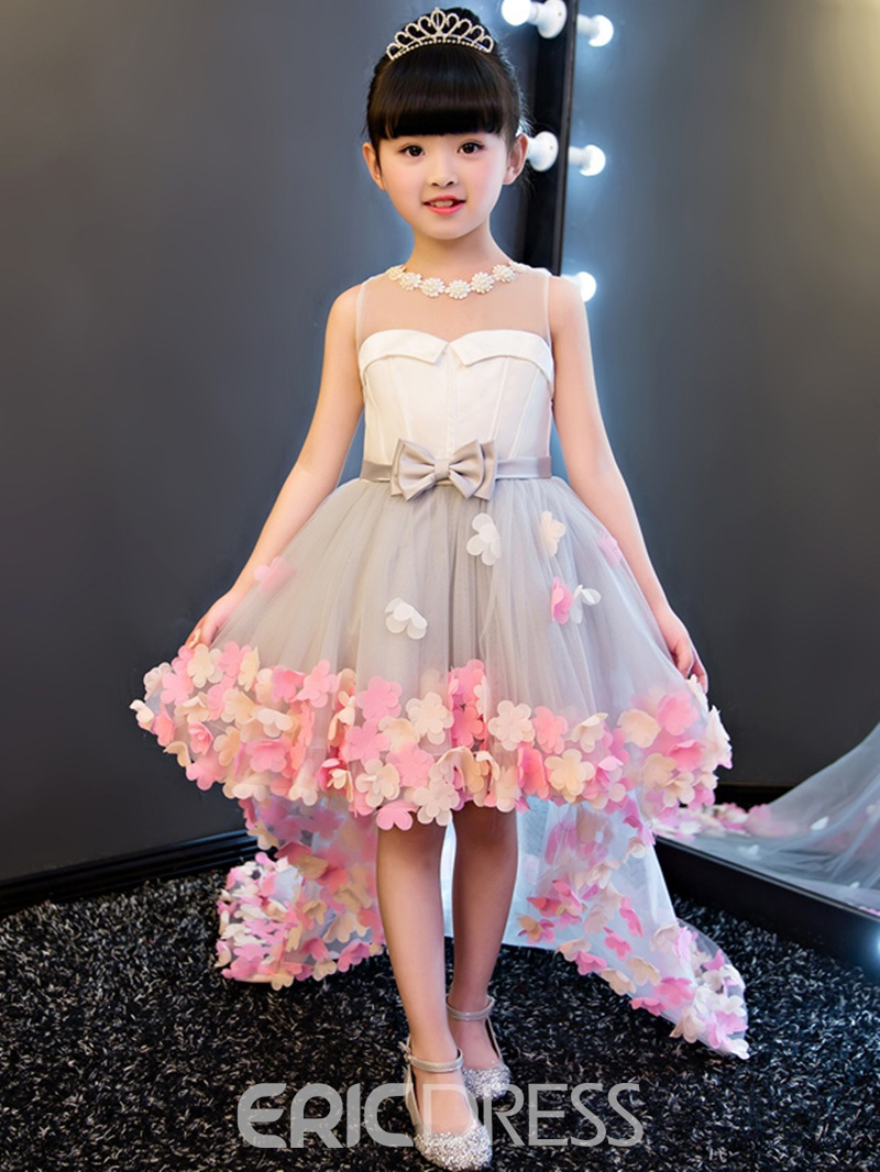 Ericdress Hi Lo 3d Floral Flowers Bowknt Flower Girl Dress