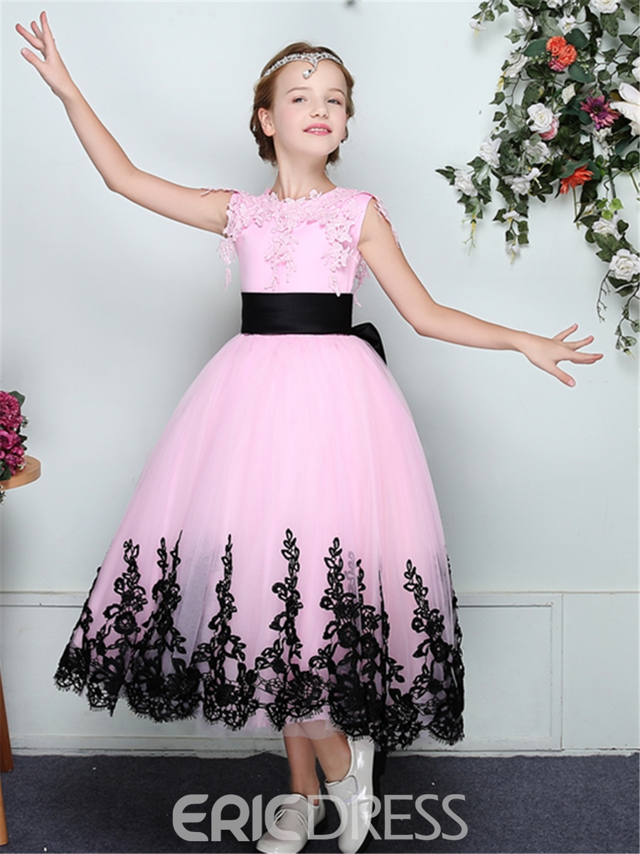 Ericdress A-Line Tulle Lace Trim Edge Sleeveless Flower Girl Dress