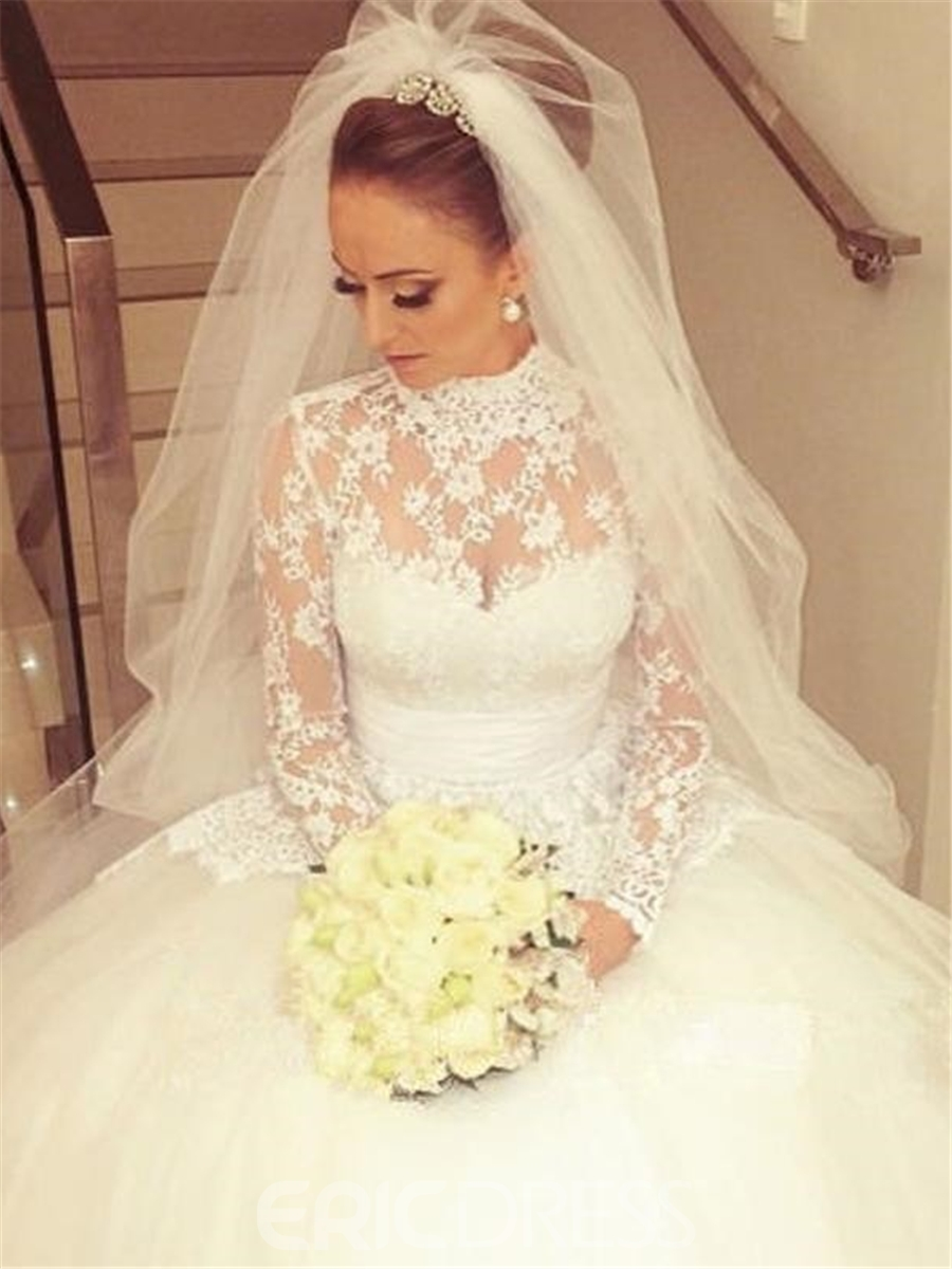 Ericdress High Neck Lace Long Sleeves Wedding Dress