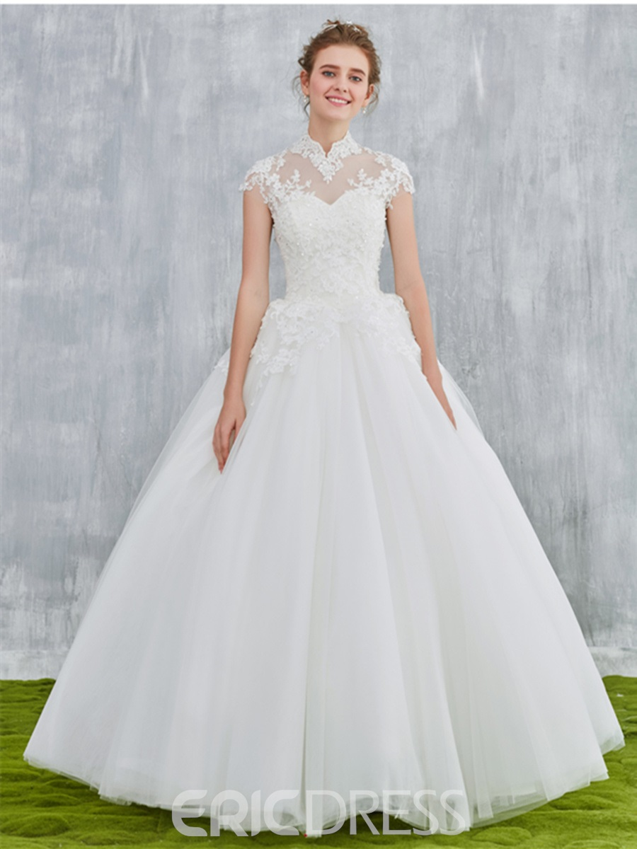 Ericdress Beading Mesh Sweetheart Cap Sleeves High Neck Wedding Dress