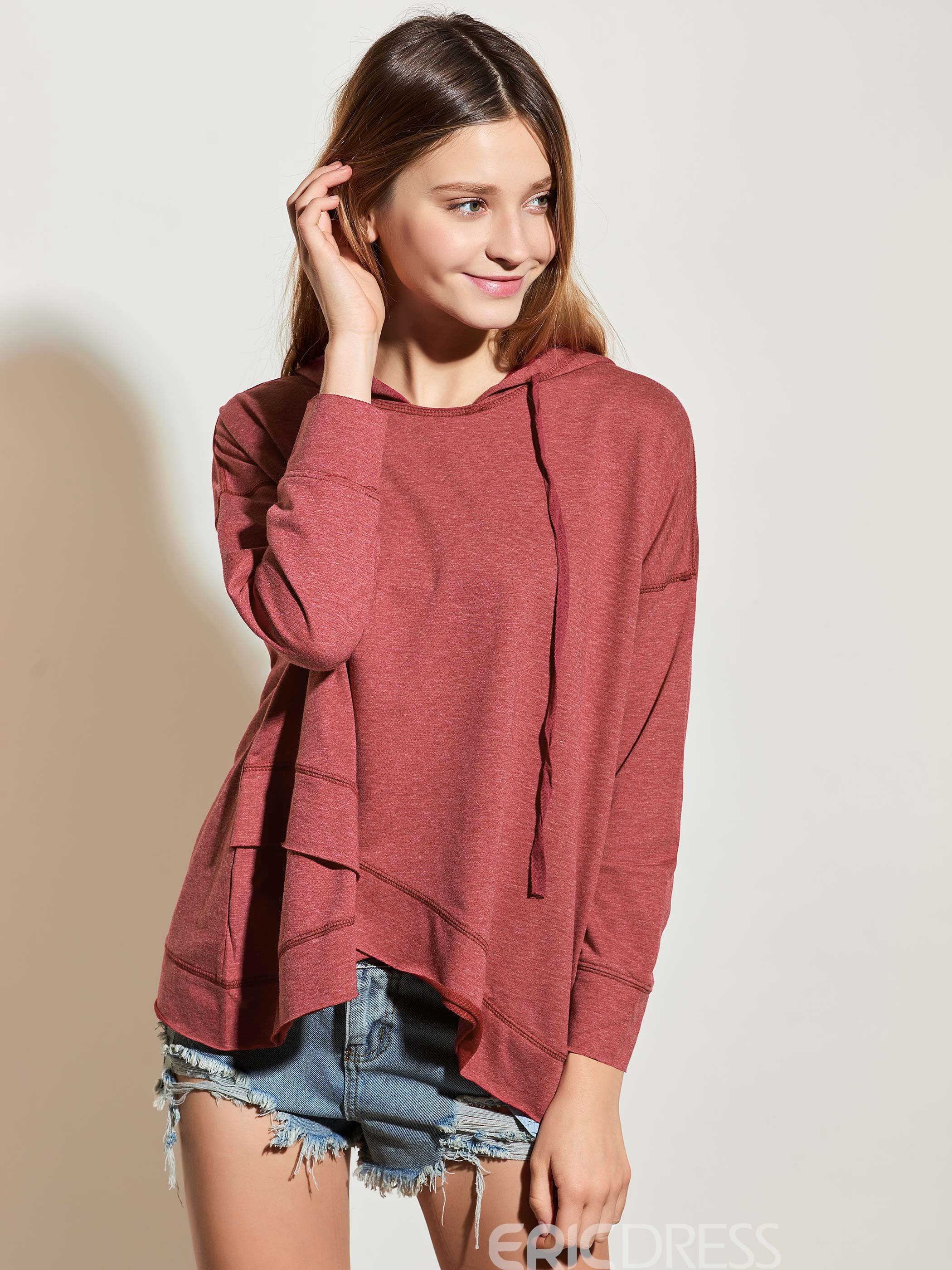 Ericdress Casual Loose Asymmetric Solid Color Hoodie