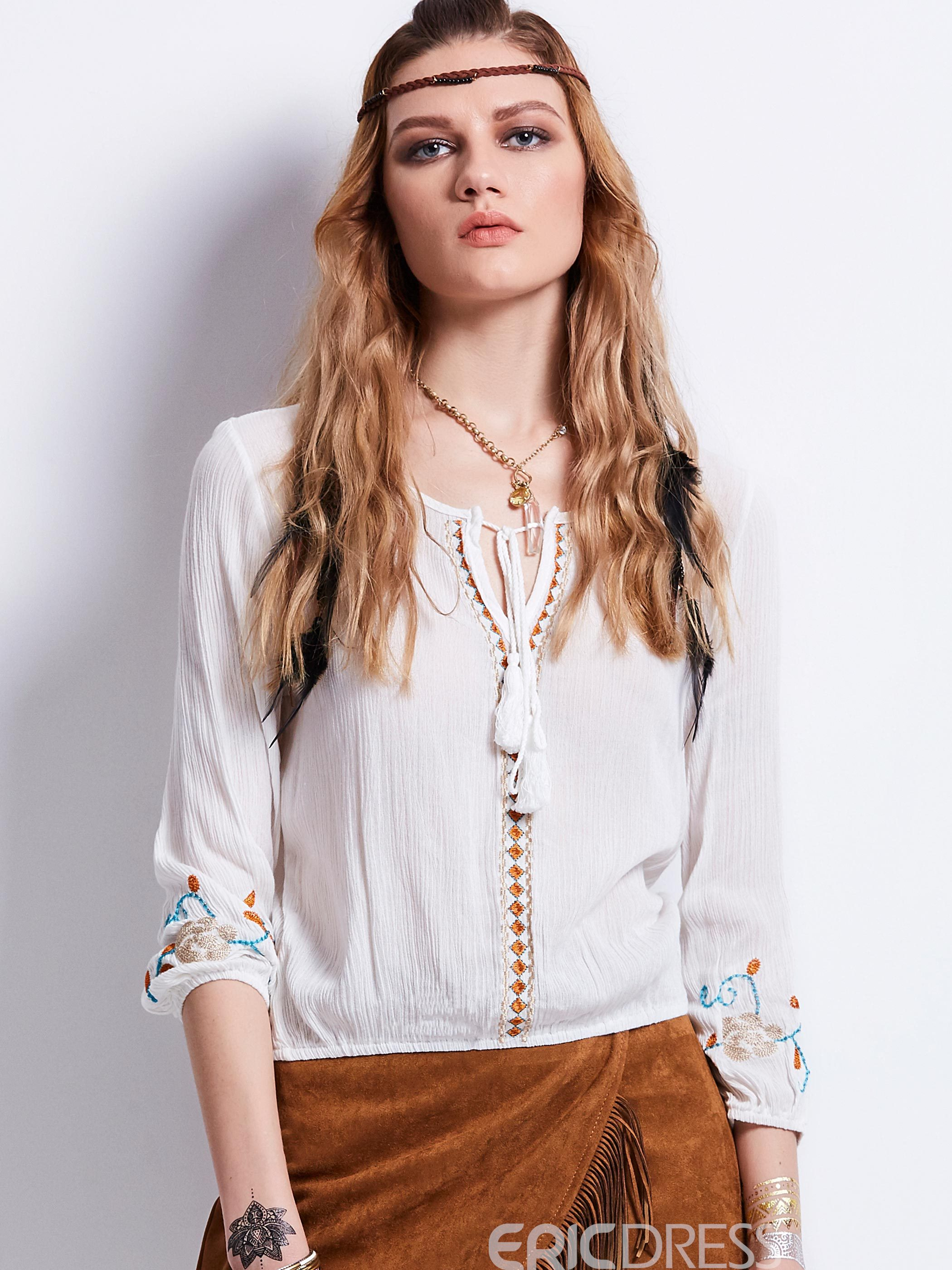 Ericdress Loose Lace-Up Floral Embroidery Blouse