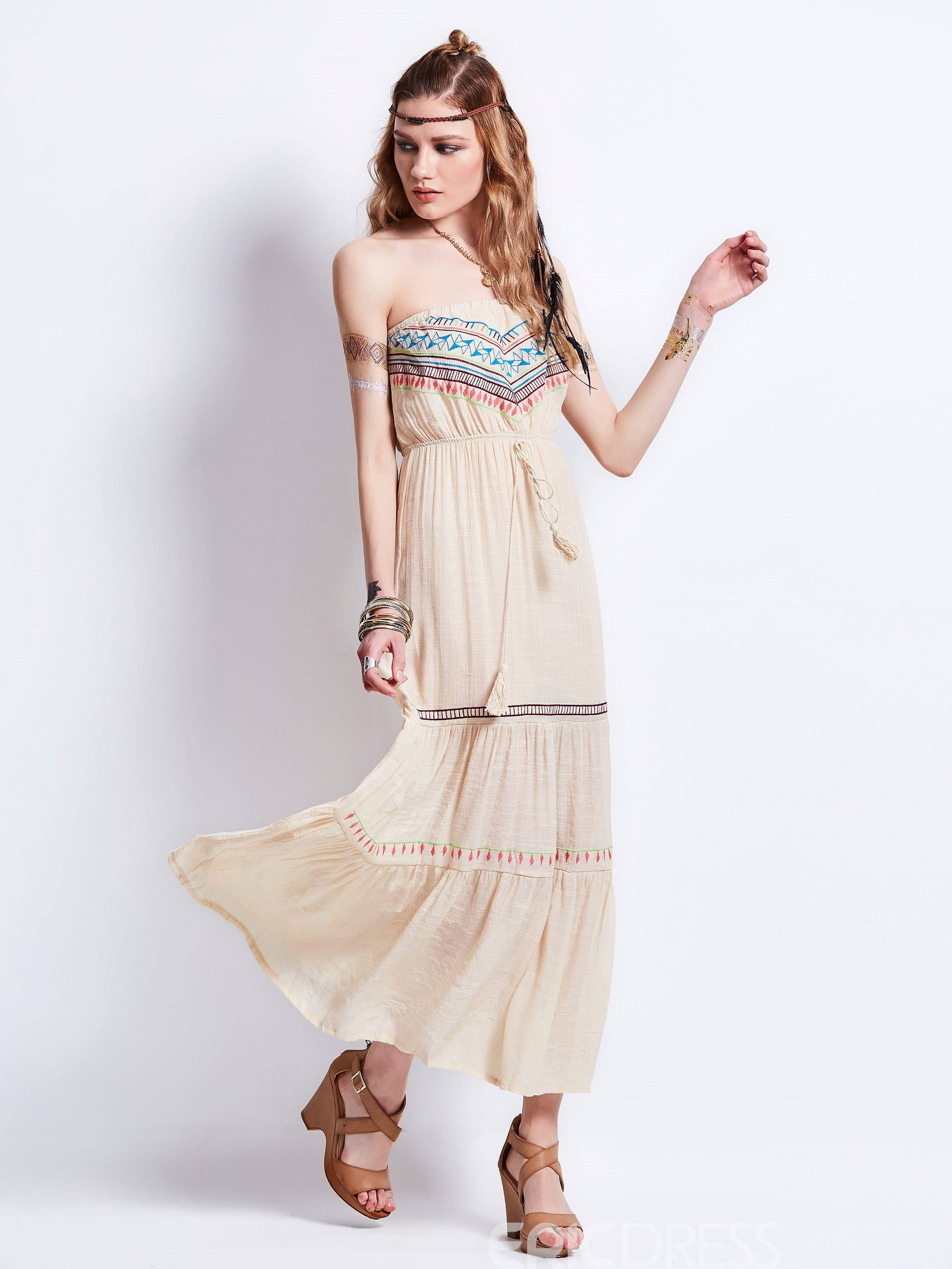 Ericdress Strapless Geometric Pattern Embroidery Maxi Dress