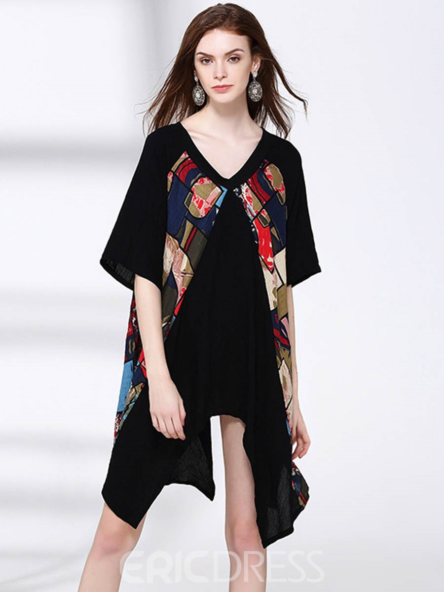 Ericdress Patchwork Print Asymmetrical Casual Dress