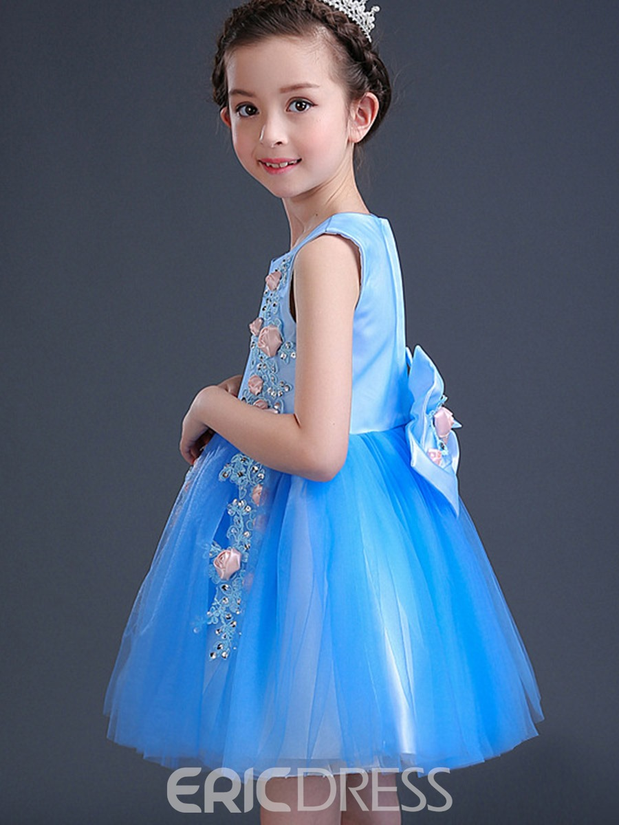 Ericdress Sweet Floral Appliques Princess Girls Dress