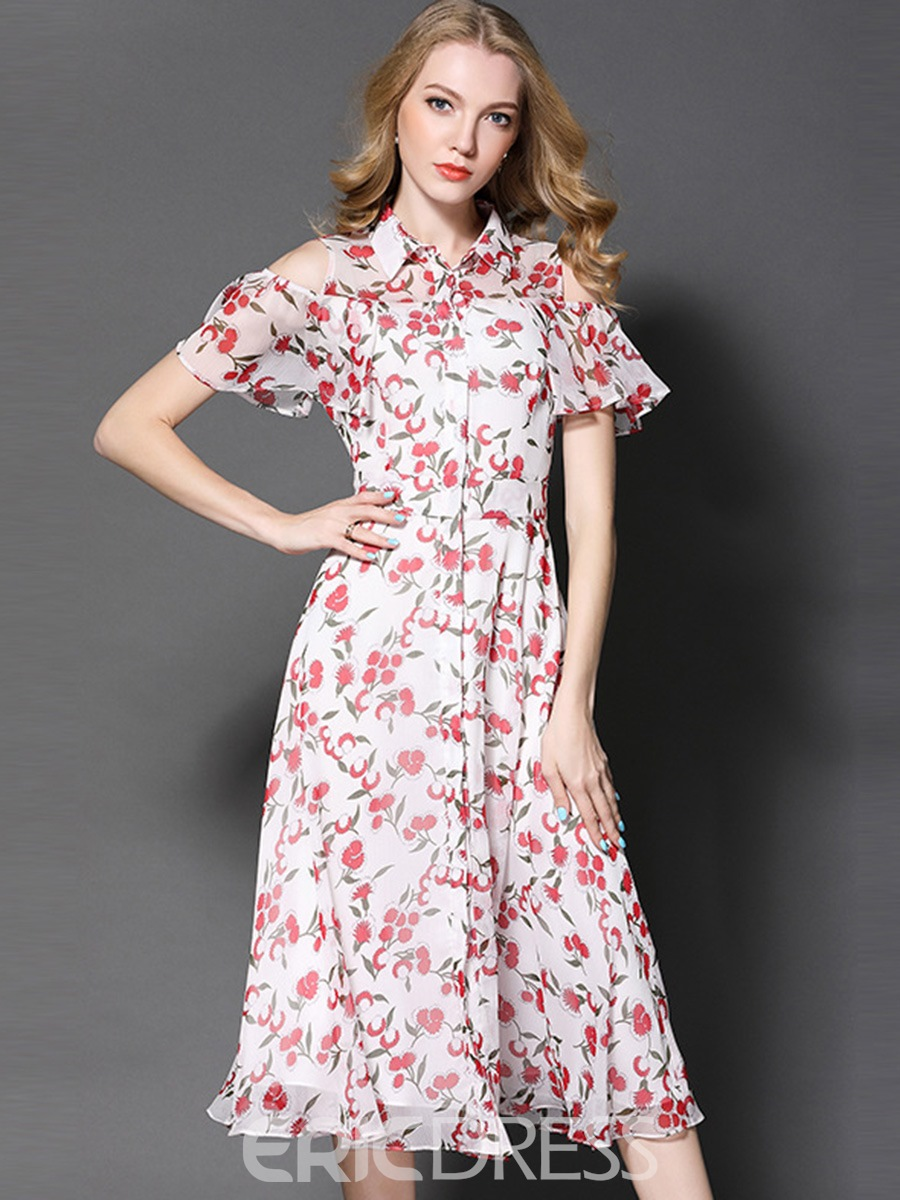 Ericdress Polo Neck Single-Breasted Floral A Line Dress