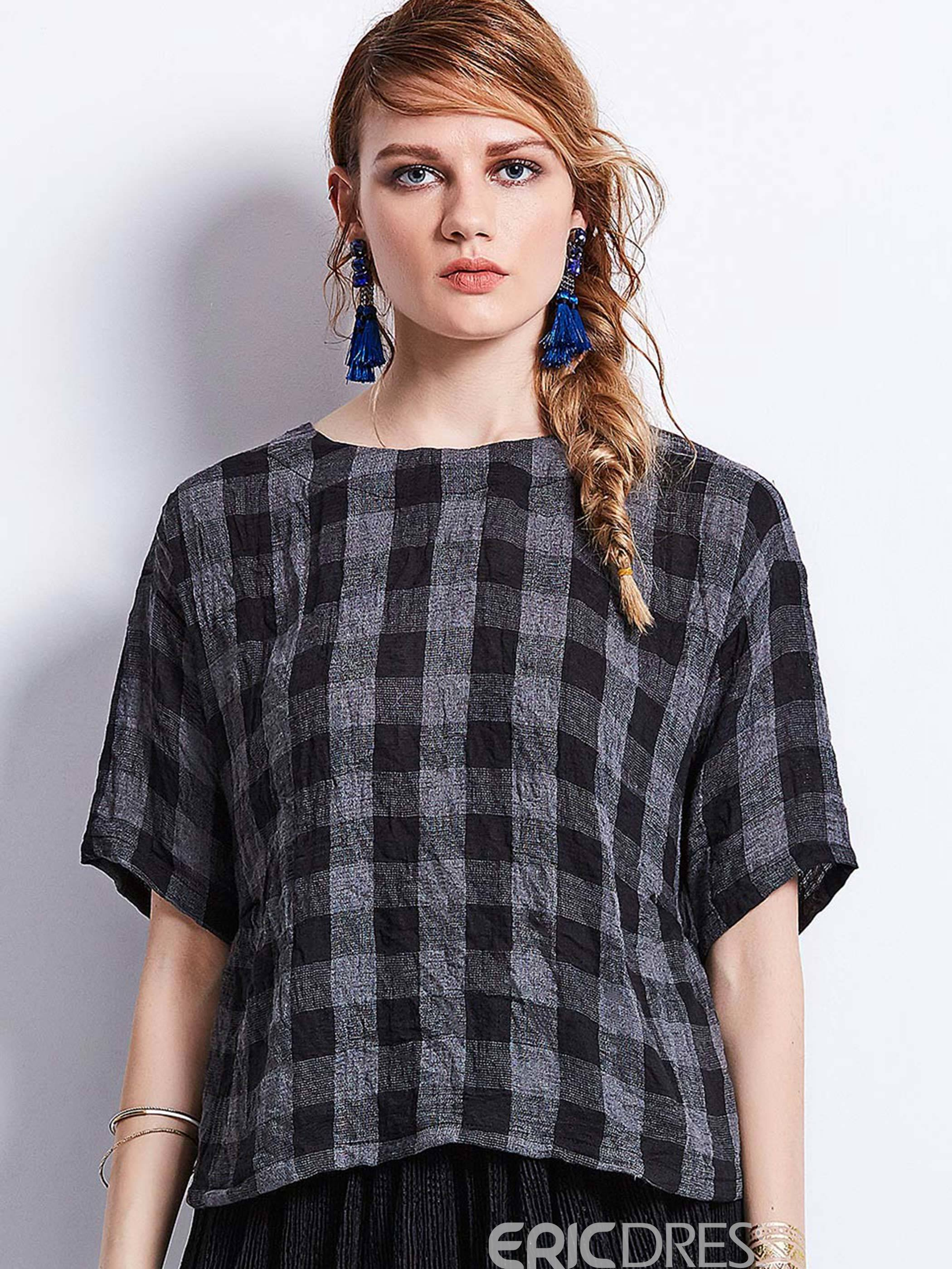 Ericdress Loose Round Neck Plaid Women's Blouse