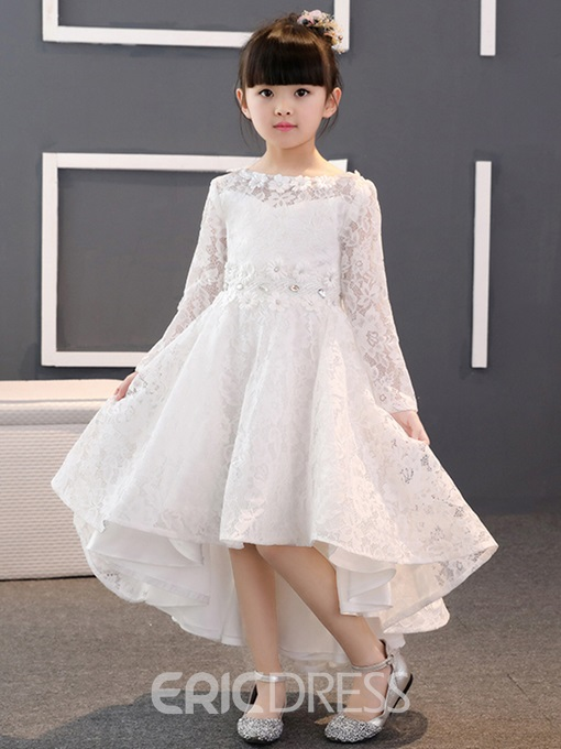 Ericdress High Low Lace Flower Girl Dress with Sleeves