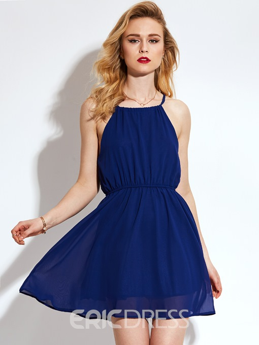 Ericdress Plain Halter Sleeveless A-Line Dress