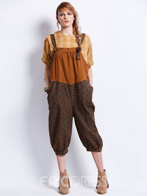 Geometric Pattern Patchwork Color Block Women's Jumpsuit